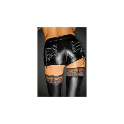 F138 Powerwetlook shorts with 2 way zipper and back pockets with lacing XL 139E163 2
