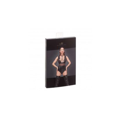 F183 Powerwetlook body with wide straps tulle inserts and velvet choker XL 139E168 1