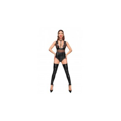 F183 Powerwetlook body with wide straps tulle inserts and velvet choker XL 139E168 2