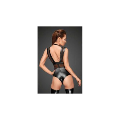 F183 Powerwetlook body with wide straps tulle inserts and velvet choker XL 139E168 7